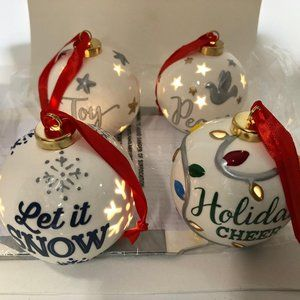 4 Lit Painted Ornaments with Gift Boxes